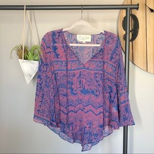 Rory Beca Blue & Pink Silk Blouse
